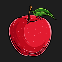 fruit de pomme frais dessiné à la main