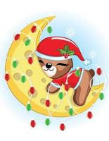 mignon ours en peluche de Noël dort sur la lune avec des lumières. illustration vectorielle d'un bébé ours mignon. vecteur