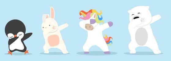 dessin animé animaux dab danse ensemble vecteur