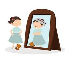 jolie fille heureuse à la recherche et chat debout devant le miroir