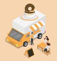 concept isométrique de camion de nourriture donut van vecteur