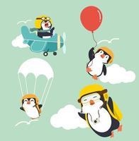 dessin animé mignon pingouins sur le ciel