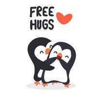 message de câlins gratuit avec des pingouins mignons vecteur