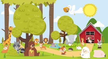 joli paysage de ferme avec des animaux vecteur