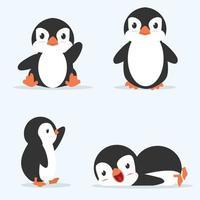 mignon petit pingouin pose vector set
