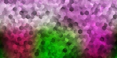 couverture de vecteur rose clair et vert avec des hexagones simples.