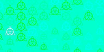 toile de fond de vecteur vert clair avec des symboles mystérieux.