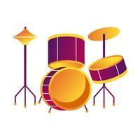 batterie instrument de musique ligne et icône de style de remplissage vecteur