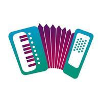 ligne d & # 39; instrument de musique accordéon et icône de style de remplissage vecteur