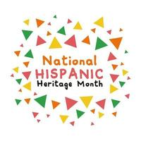 lettrage du patrimoine national hispanique avec icône de style plat couleurs confettis