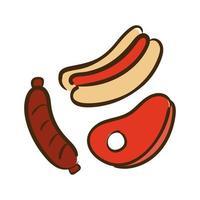 steak, saucisse et hot-dog plat style icône vector illustration design