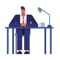 dessin animé homme d'affaires isolé à la conception de vecteur de bureau