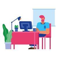 dessin animé homme d'affaires isolé avec ordinateur à la conception de vecteur de bureau