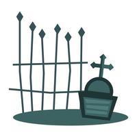 tombe avec conception de vecteur croix et porte