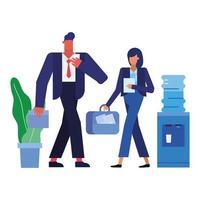 homme d & # 39; affaires et femme d & # 39; affaires avec bidon d & # 39; eau et conception de vecteur de plante