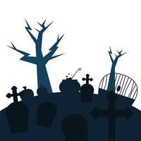 tombes avec croix et arbres vector design