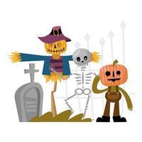 conception de vecteur de dessin animé épouvantail, crâne et citrouille halloween