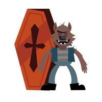 dessin animé de loup-garou halloween avec conception de vecteur de cercueil