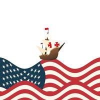 christopher columbus ship avec usa vector design