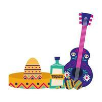 chapeau de guitare mexicain tequila et maracas vector design