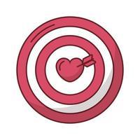 coeur joyeux saint valentin en cible avec flèche