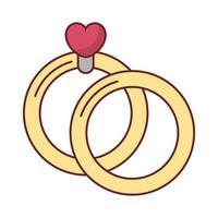 joyeux saint valentin coeur dans des anneaux de proposition