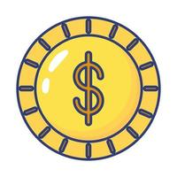 icône de style plat pièce monnaie dollar