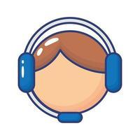 icône de style plat agent de service de soutien vecteur