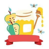 pot de miel sucré avec pommes et cuillère