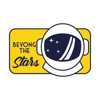 badge spatial avec ligne de casque d'astronaute et style de remplissage