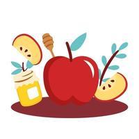 pommes avec pot de miel sucré