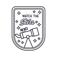 badge spatial avec télescope et regardez le style de ligne des étoiles