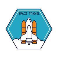 insigne hexagonal spatial avec ligne de vol de vaisseau spatial et style de remplissage