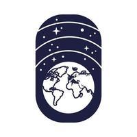 badge spatial avec style de ligne planète terre et étoiles