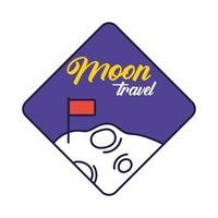 insigne d & # 39; espace avec ligne de lune et de drapeau et style de remplissage