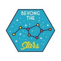 badge d & # 39; espace avec ligne de constellation d & # 39; étoiles et style de remplissage vecteur