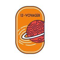 badge spatial avec planète saturne et 12 lignes voyager et style de remplissage
