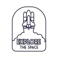 badge spatial avec un vaisseau spatial volant et explorez le style de ligne de lettrage spatial
