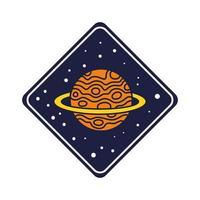 badge d & # 39; espace avec ligne de planète saturne et style de remplissage