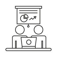 couple avatar travaillant sur l & # 39; icône de style de ligne ordinateur portable et statistiques