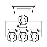 quatre travailleurs assis à table avec l'icône de style de ligne ordinateurs