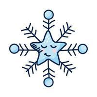 personnage de bande dessinée de flocon de neige étoile kawaii