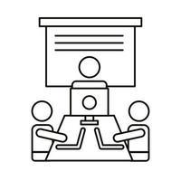 trois travailleurs avec des ordinateurs portables et une icône de style de ligne de bureau