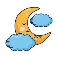 personnage de bande dessinée kawaii croissant de lune et nuages