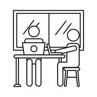 avatar couple coworking sur ordinateurs portables dans l'icône de style de ligne de bureau