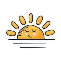 Personnage de bande dessinée kawaii demi-soleil
