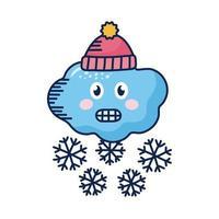 nuage kawaii avec flocons de neige et chapeau d'hiver