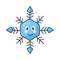 personnage de bande dessinée de flocon de neige kawaii