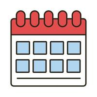 ligne de rappel de calendrier et icône de style de remplissage vecteur