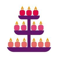bougies diwali dans l'icône de style plat de rayonnage